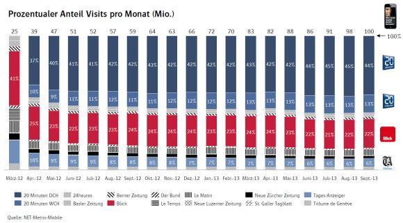 Prozentualer Anteil Visits pro Monat