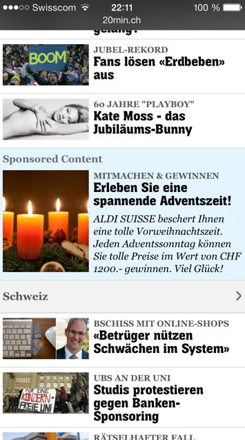 Sponsored Content auf der mobilen Seite von 20 Minuten