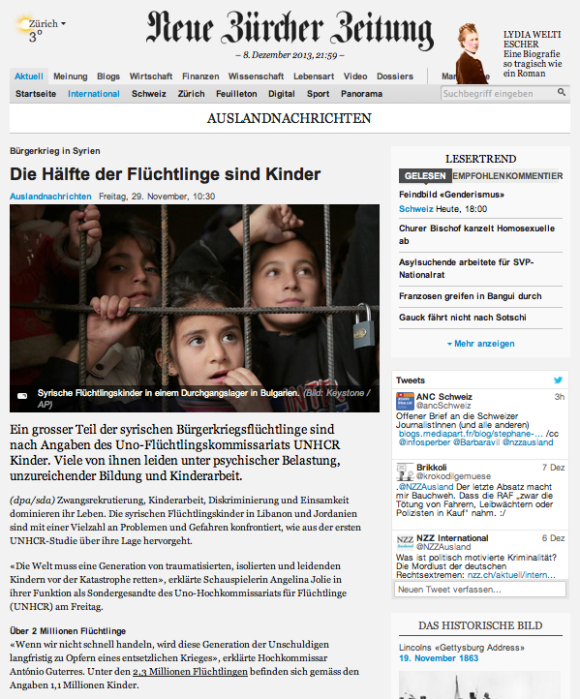 NZZ-Artikel: Die Hälfte der Flüchtlinge sind Kinder