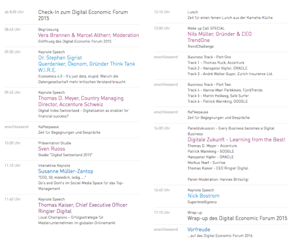 Digital Economic Forum Programm